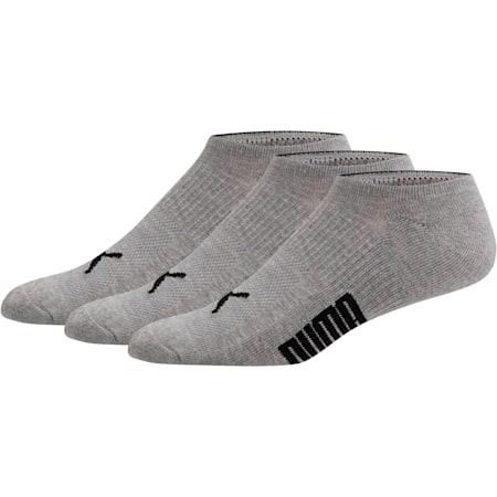 Men's Invisible No Show Socks [3 Pack], GREY / BLACK, small